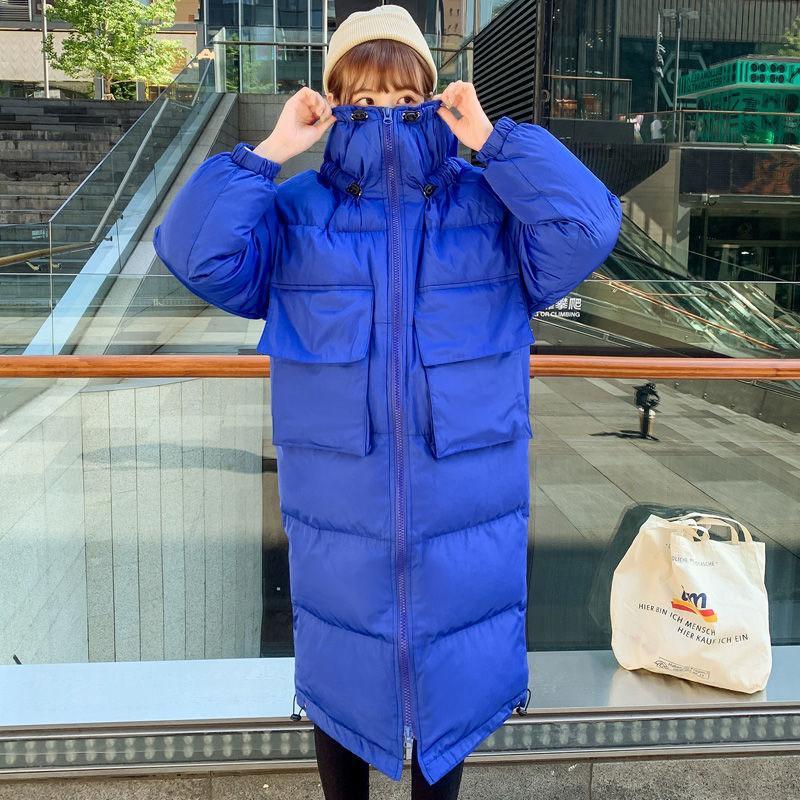 Parkas Mode Frauen Lange Mit Kapuze Winter Mantel Lässig Verdicken Warme Jacke Lose Daunen Baumwolle Gepolsterte Jacken Outwears 210512