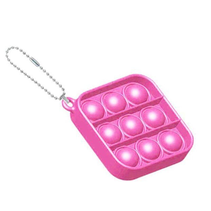 Simple hoyuelo Push Pop Llavero Partido Favor Sensory Kid Fidget Toy Stress Bubble Key Tablero Tablero Dedo Colgante 7 H1