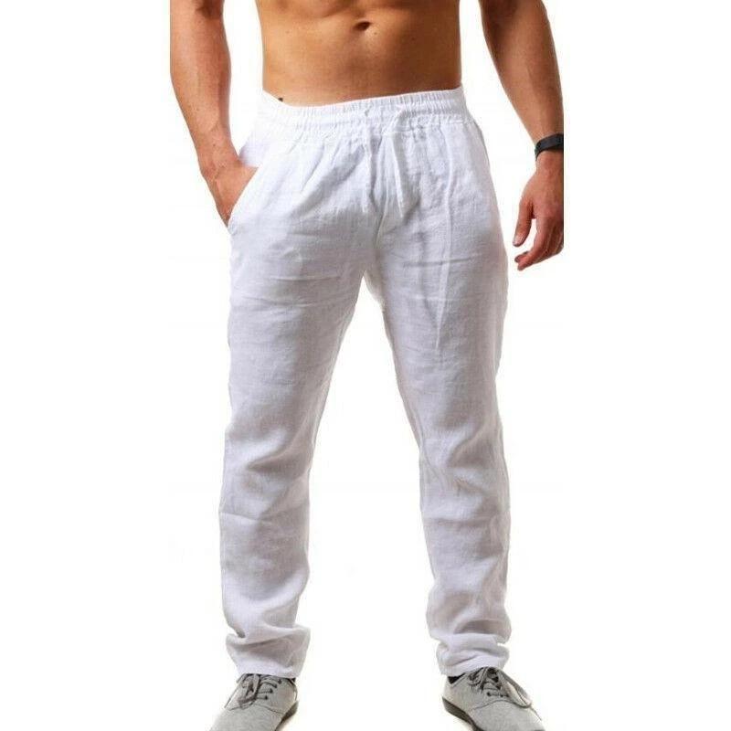 남성 코튼 린넨 바지 솔리드 컬러 탄성 허리 느슨한 긴 남자 힙합 통기성 캐주얼 바지 Pantalones
