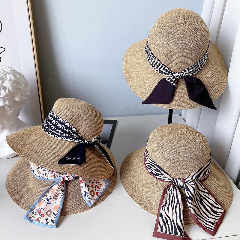 Mujeres simples cúpula ancha sombreros de ala de moda cinta dama pescadores gorras elegante seda bufanda playa sombrero