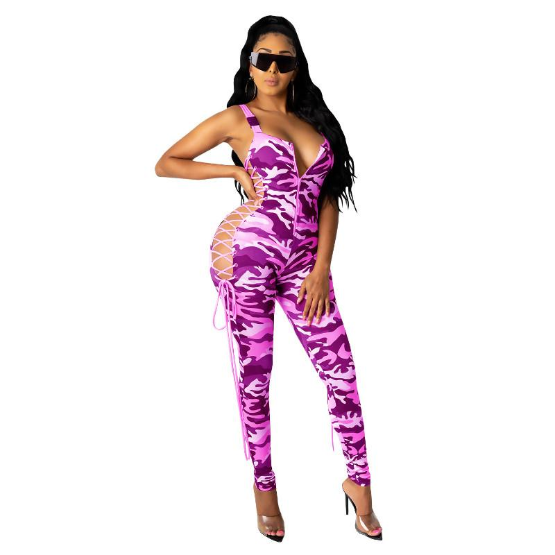 Spaghetti Strap Strampler Jumpsuits für Frauen 2020 Neue Strap Camflouge Jumpsuit Reißverschluss Aushöhlen Club Wear Skinny Overall Sexy Lace Up Sexy