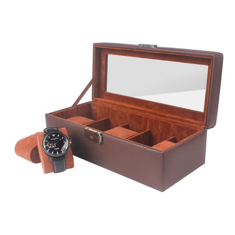 İzle Kutuları Kılıfları Yüksek Kalite Açık Pencere Kutusu PU 5 Yuvaları Kahverengi Depolama Takı Ekran Erkekler için Saatler Caja Para Relojes