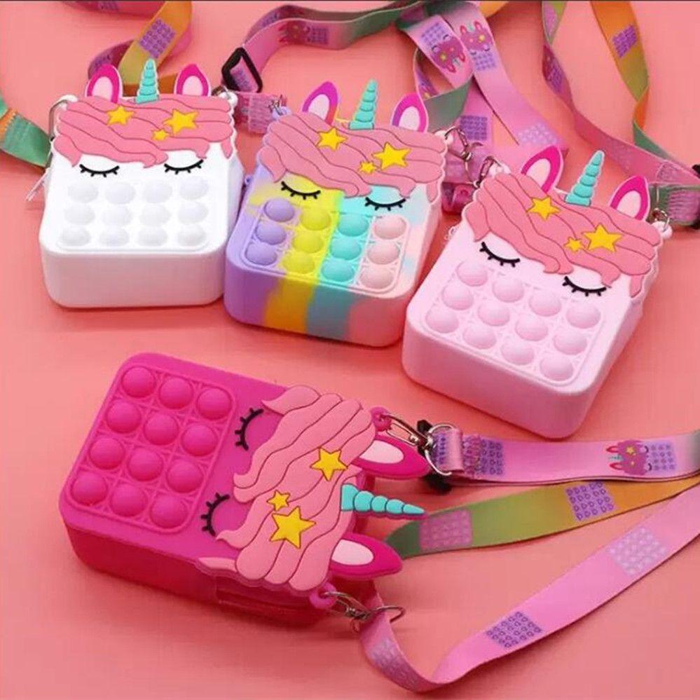 Fidget Pop Sensory Bubble Bretelle Shoulder Bag Cellphone Straps Finger Push Phone Pouch Case Change Coin Purse Decompression Unicorn Toys for Girls Kids DHL