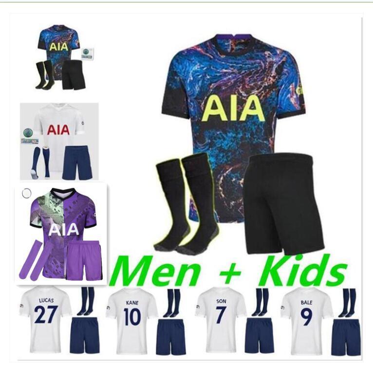 성인 키트 2021 2022 Dele Son Tottenham Bale Kane 축구 유니폼 21 22 Hojbjerger Bergwijn Lo Celso Spurs Lucas 축구 셔츠 남성 키즈 팬 키트 유니폼