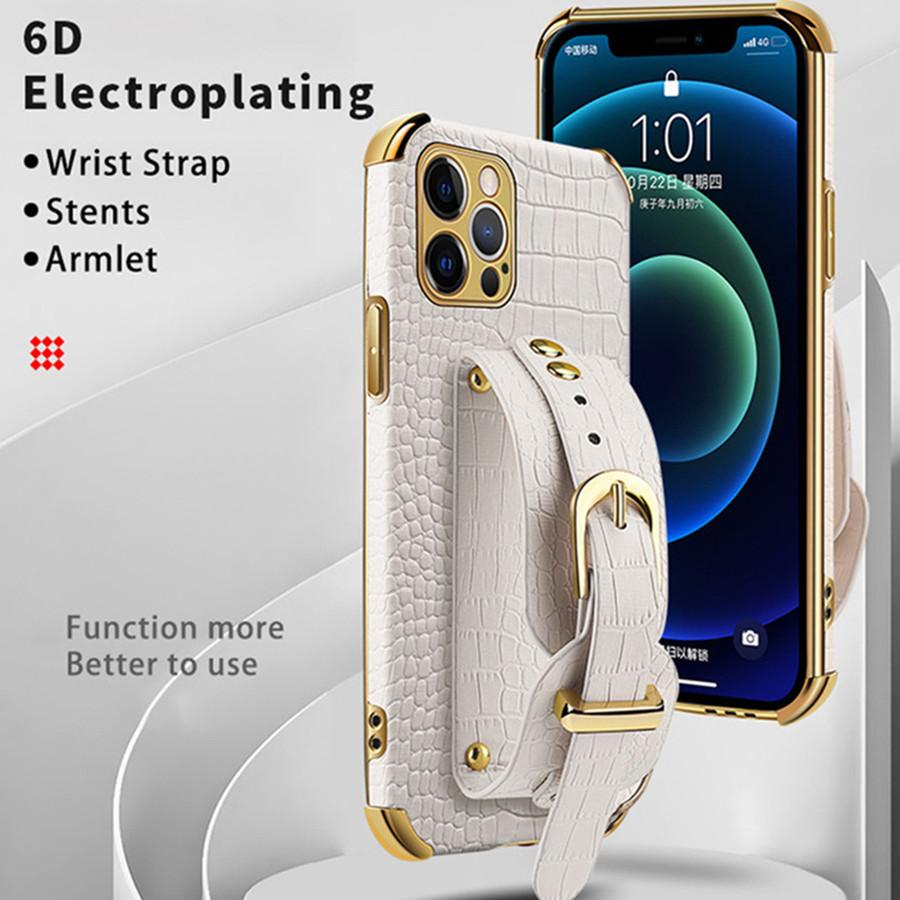 Mode-Luxus-Überzug-Telefon-Fälle für Coque iPhone 13 12 11 PRO MAX X XR XS Mini 7 8 Plus-Cover Samsung Note 20 S21 Ultra S20 FE plus A51 Leder Stoßdämpfer mit Riemengehäuse