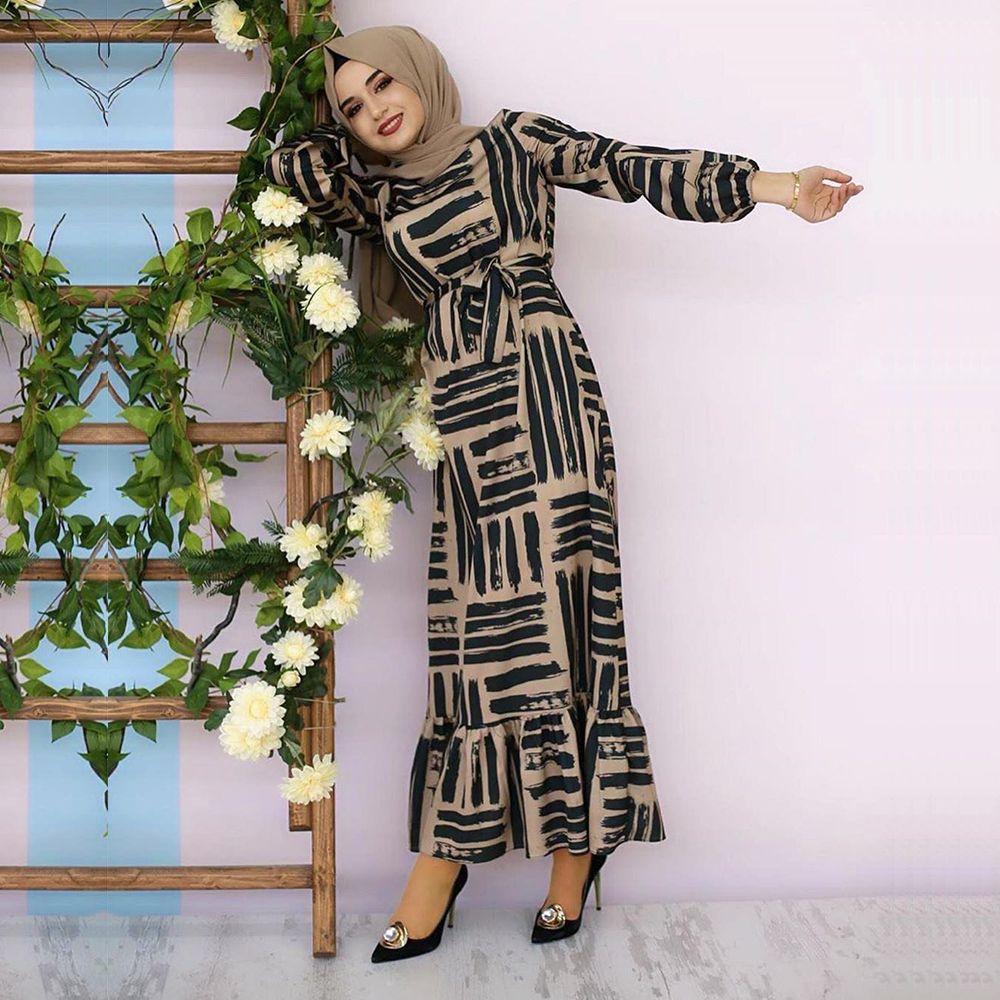 맥시 드레스 우아한 여성 패션 기하학적 인 인쇄 O 목 랜턴 전체 슬리브 주름 밑단 밑단 긴 무슬림 의류 EID