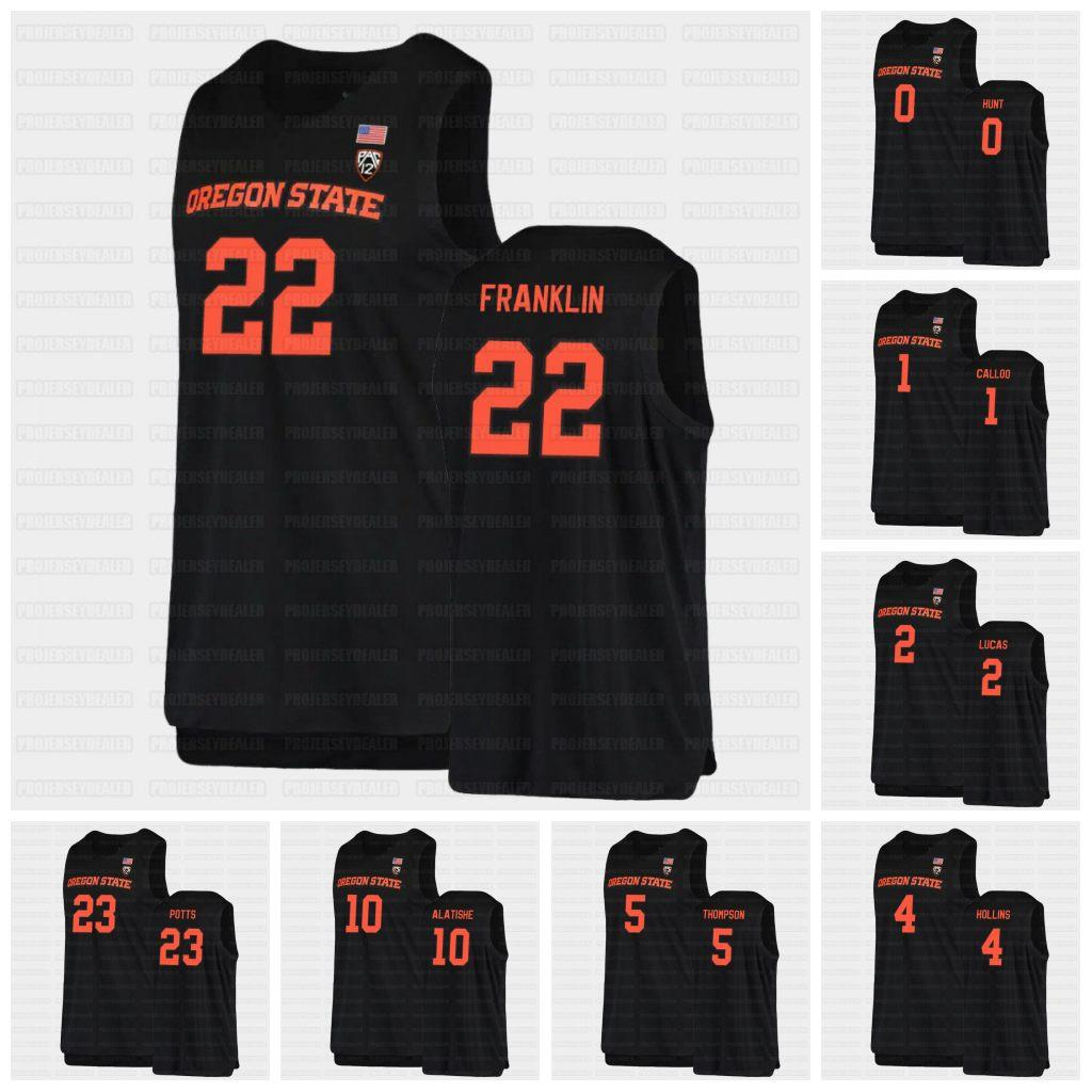 Oregon State Beavers NCAA Black College Basketball 2021 Jersey 0 Gianni Hunt 1 Maurice Calloo 2 Jarod Lucas Hollins Thompson Alatishe Reichle Silva Payton Franklin