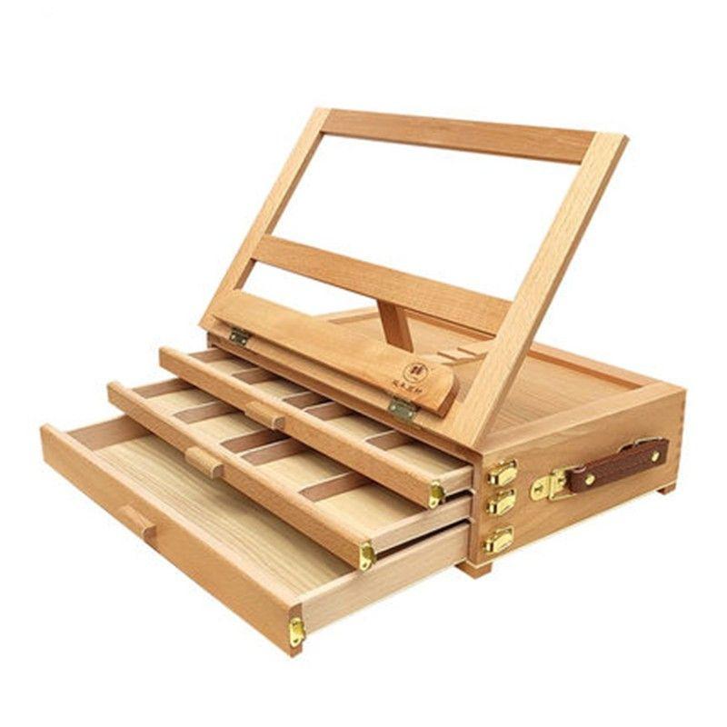 Art Artista Ajustável Beech Madeira Tabletop Sketch Box Easel 3-Gaveta Portable 489 V2