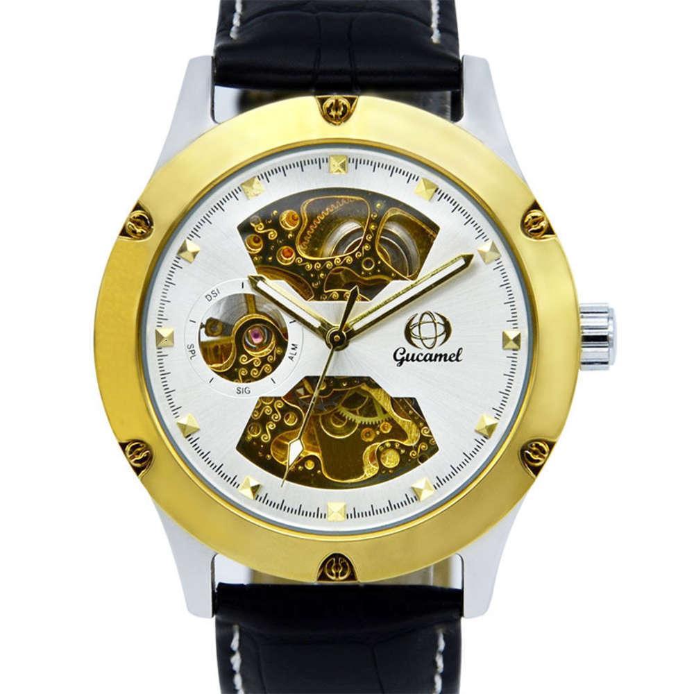 Смотреть Тикток, выдолбленный Автоматический механический Вибрато, Мода Золотой Бизнес Мужской