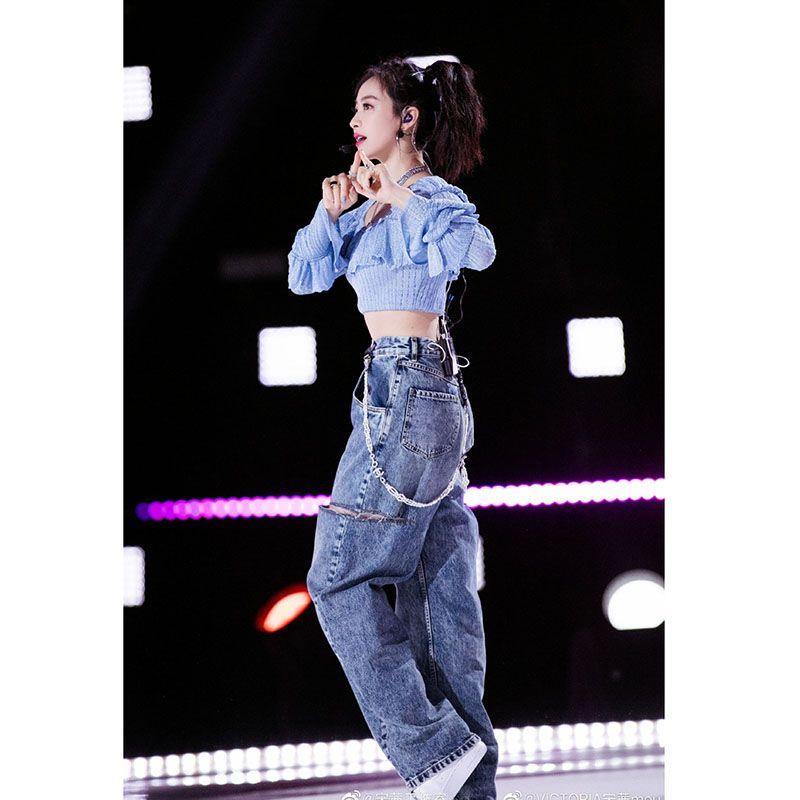 2021 Summer moda canção qin estrela ensaio ensaio mesmo jeans retrô azul escuro namorado estilo jeans de cintura alta feminina