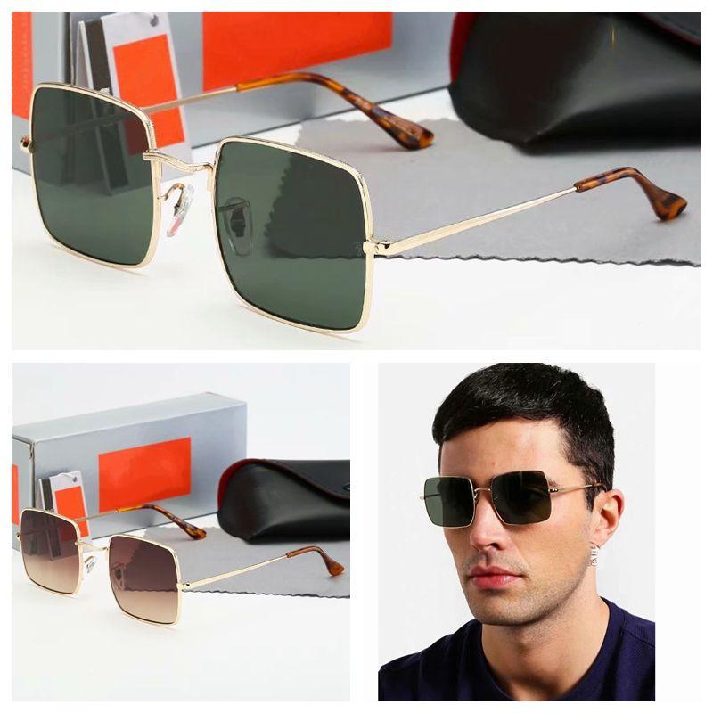 all'ingrosso telaio quadrato occhiali da sole designer di lusso per uomini donne pilota occhiali da sole classici moda occhiali di moda accessori Lunettes de Soleil con custodia in pelle
