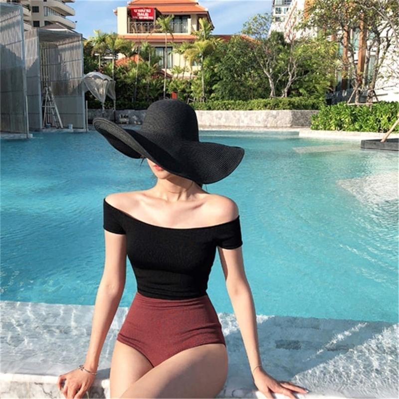 Corea estilo de una pieza traje de baño mujeres sólido traje de baño fuera del hombro monokini empuje hacia arriba trikini almohadilla baño traje patchwork beachwear 210317