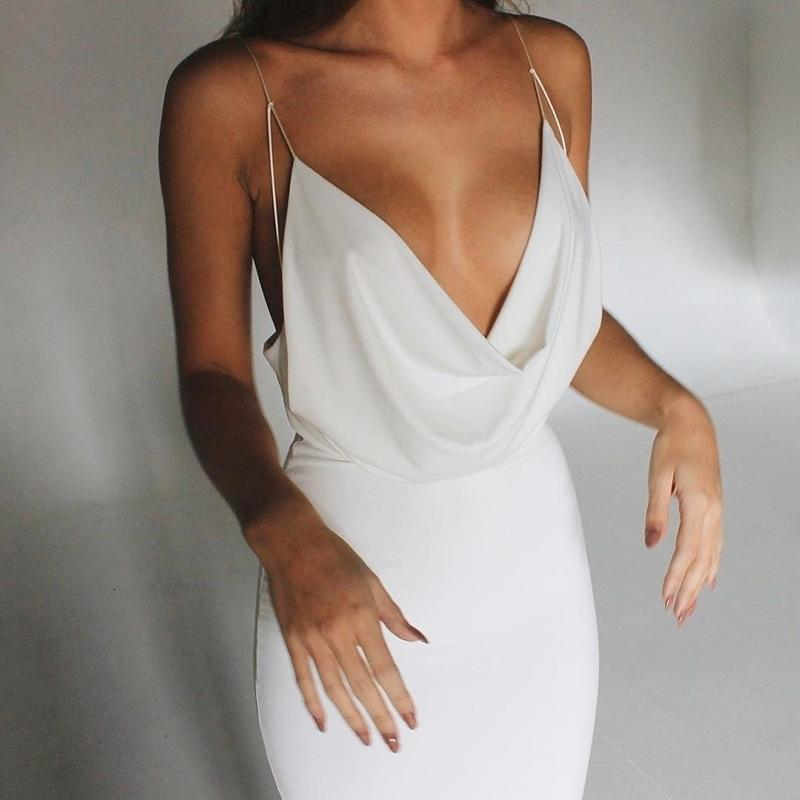 Casual Dresses Fashion Solid Color Ruched V-neck Women's Spaghetti Strap Sleeveless Party Club Sexy Backless Dress F5R9