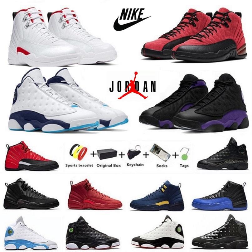 Мужские баскетбольные кроссовки With Box Twist Jumpman 12 Court Purple 13s Red Flint 13 University Gold Reverse Flu Game мужские Темно-серая кепка Платье разводят спортивные 7-13