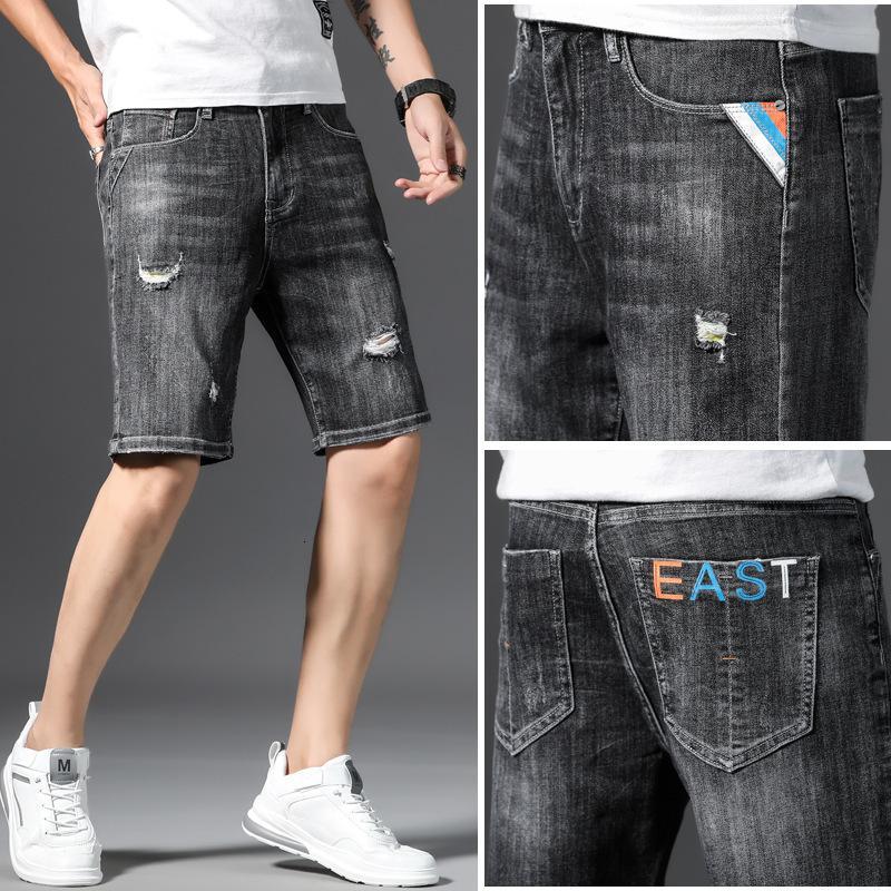 2021 pantalones vaqueros de verano pantalones cortos de mezclilla Capris Slim Fit Elástica transpirable recto negro casual pantalones