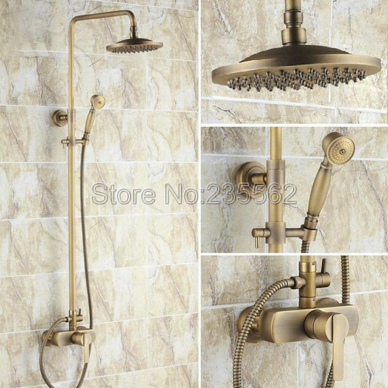 Inch Antique Brass Rain Shower Faucet Set Bathroom Mixer Handheld Tap Single Handle Cold And Faucets Lrs175 Sets
