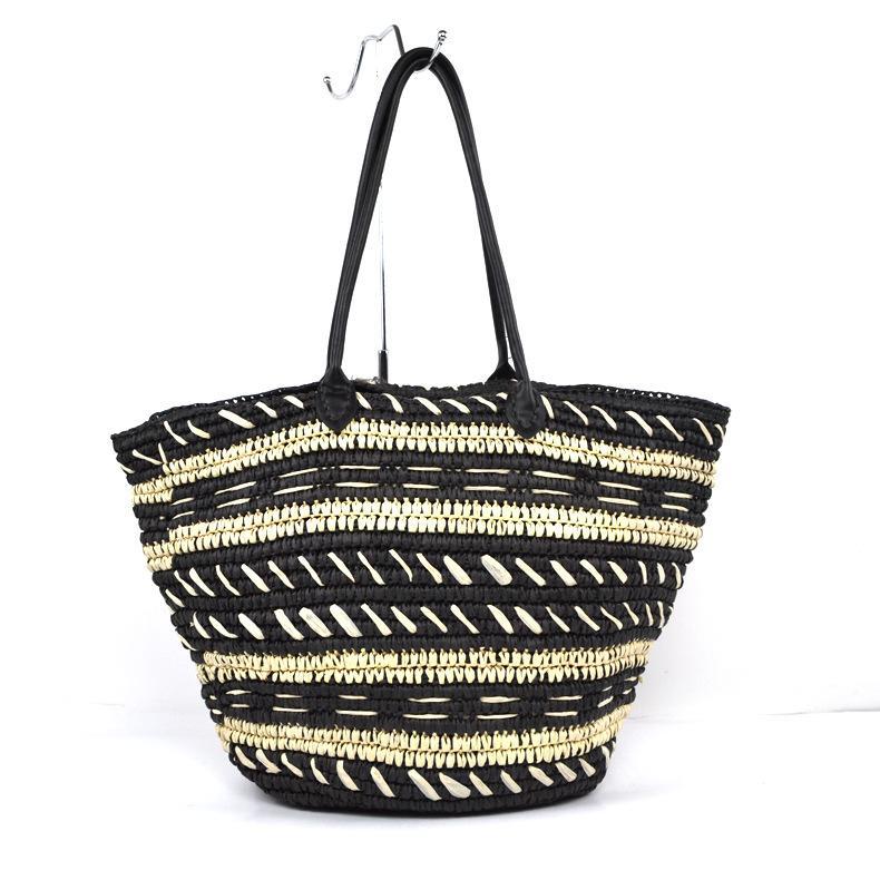 Mano hecha a mano bolsa tejida Ocio simple Crochet Straw Bag Summer Lady Beach Estilo Tejido Bolso de hombro Monedero