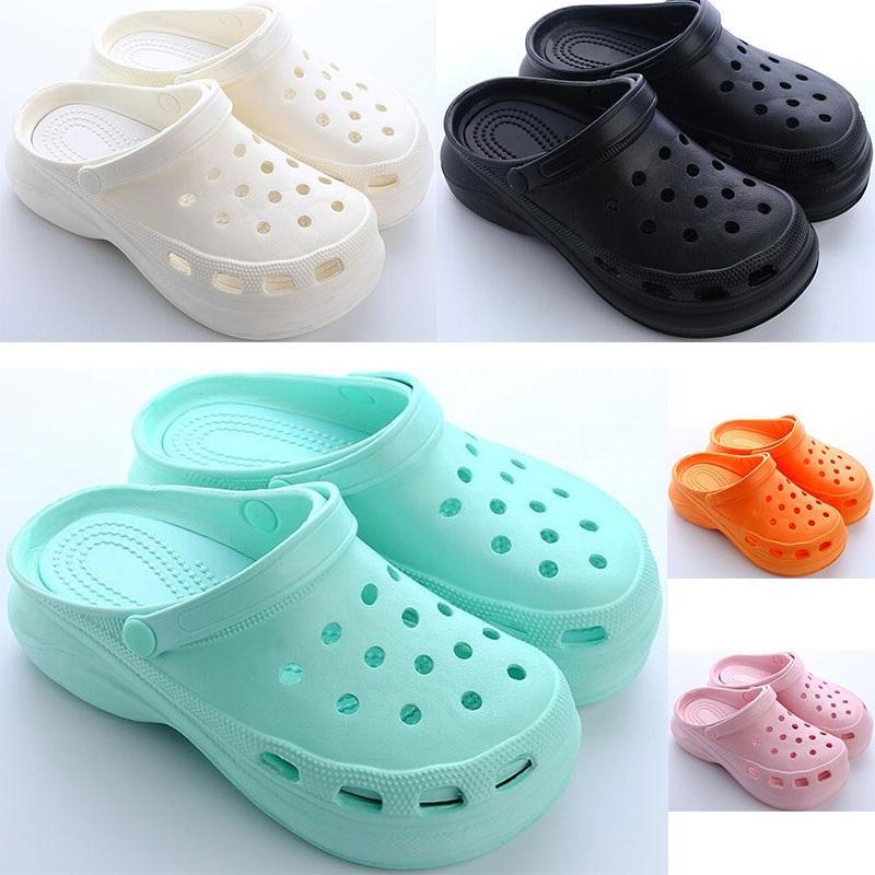여자 여름 두꺼운 밑창 구멍 신발 숙녀 높이 증가 신발 검은 흰색 오렌지 핑크 여자 여자 비치 클래식 샌들 슬리퍼 30