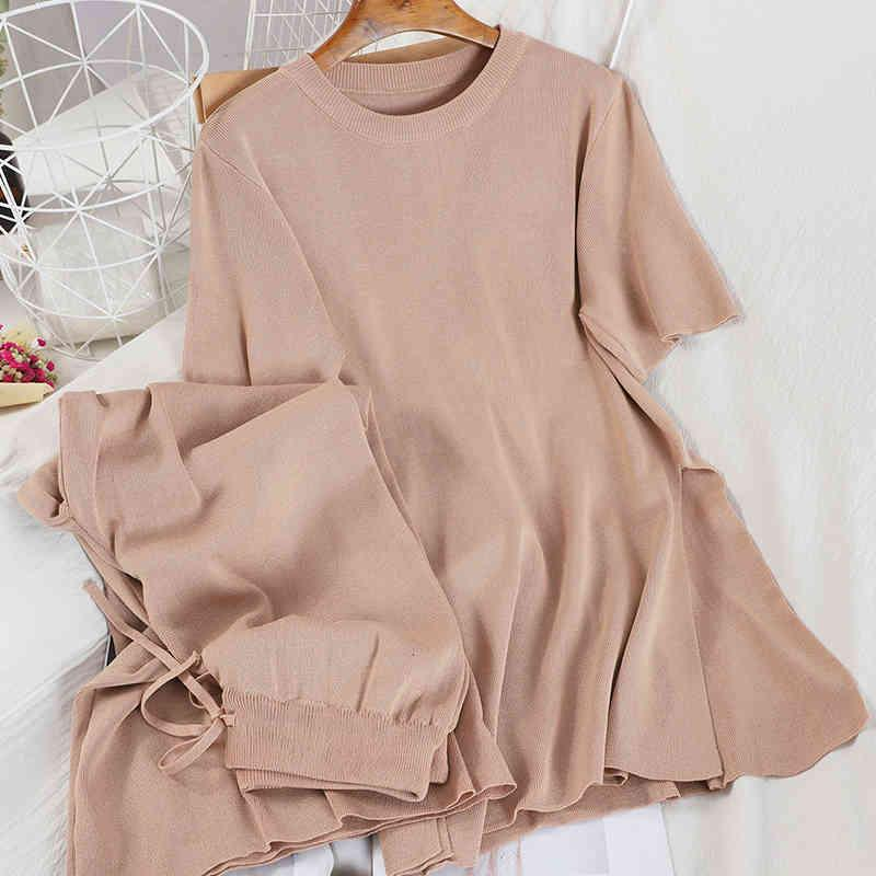 Women's Tracksuits women's knitted or crocheted suit, summer clothes, short sleeve, top, long legs, pants, two-piece set, loose sweater, high waist, tie IBEU