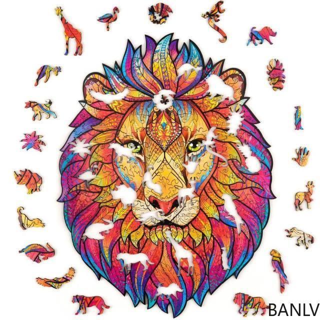 Banlv Таинственный лев в форме деревянная головоломка 3d трехмерные животные головоломки головоломки Интернет знаменитости Мандала подарки F
