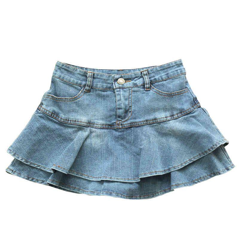2021 Sommer Niedrige Taille A Line Denim Rock Frauen Sexy Plissee Mini Jeans Röcke Koreaner Stil Casual Faldas Mujer 210329