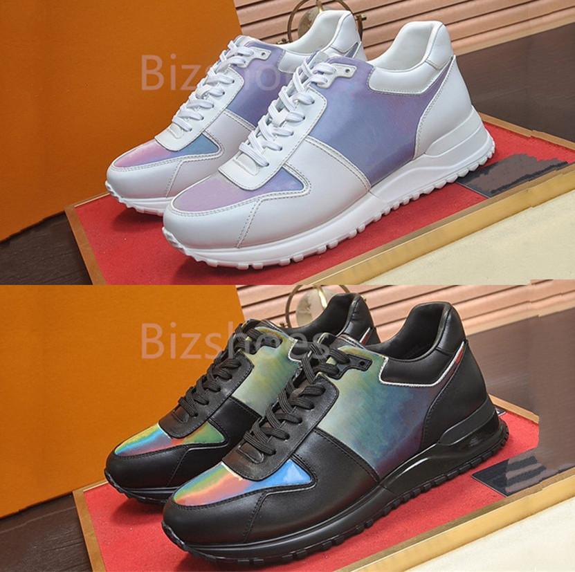 Kaçak Sneaker Buzağı Deri Gökkuşağı Lüks Ayakkabı Klasik Koşucu Ayakkabı El Bitmiş Teknik Kauçuk Rahat Sneakers