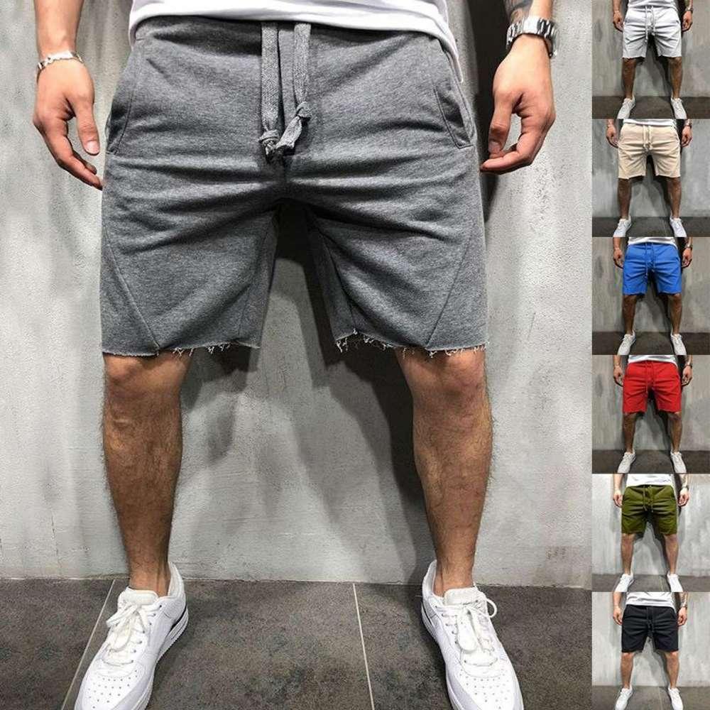 Мужчины Повседневная шорты мужская эластичность прямые шорты лето новый сплошной цвет спортивные пляжные мужские мужчины брюки