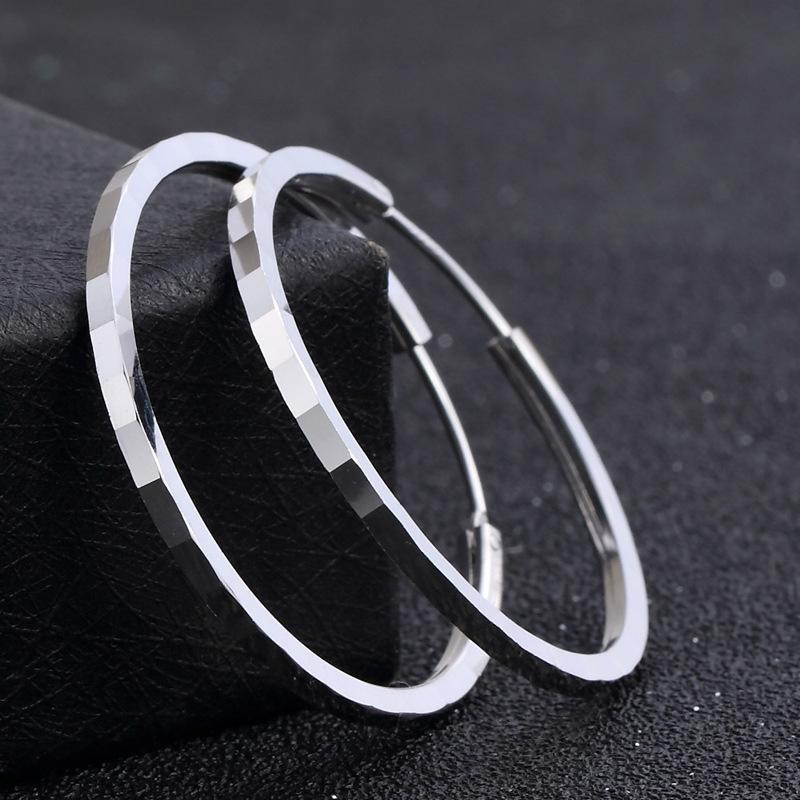 S925 Sterling Sterling Silver 3,5m Rond Bague Boucles d'oreilles Femme Tendance unique Européenne et américaine Simple Boucles d'oreilles Big Ear Ear Ring Article Ventes directes