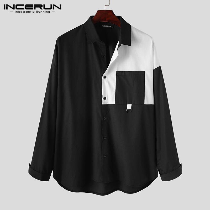남성 캐주얼 셔츠 브랜드 패치 워크 옷깃 느슨한 스트리트웨어 블라우스 한국어 패션 긴 소매 단추 셔츠 Camisas S-5XL 남자