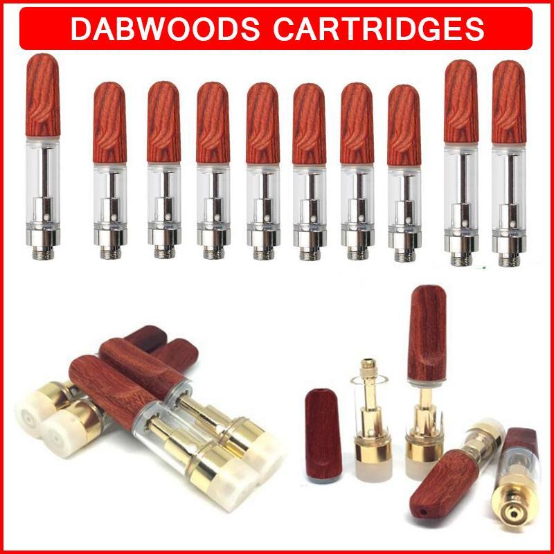 Exotics Dabwoods Tape Cartridges Упаковка 0.5 мл 0,8 мл 1 мл распыления TH205 Керамические пустые вершины ручка Тележки древесины деревянные наконечники 510 резьбовый толстый волск