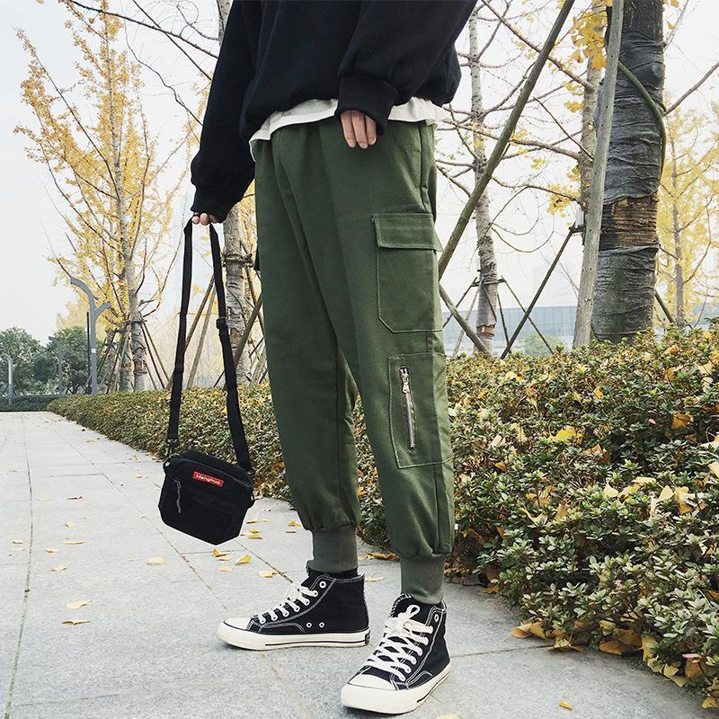 Streetwear Harem 바지 남자 탄성 허리 펑크 리본 캐주얼 슬림 조깅 힙합 바지 XXL 남자