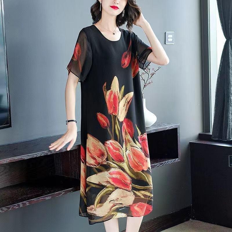 Mutter Sommer neue Mode ausländischer Art mittlerer Alter und alter Frauen-Chiffon-Rock