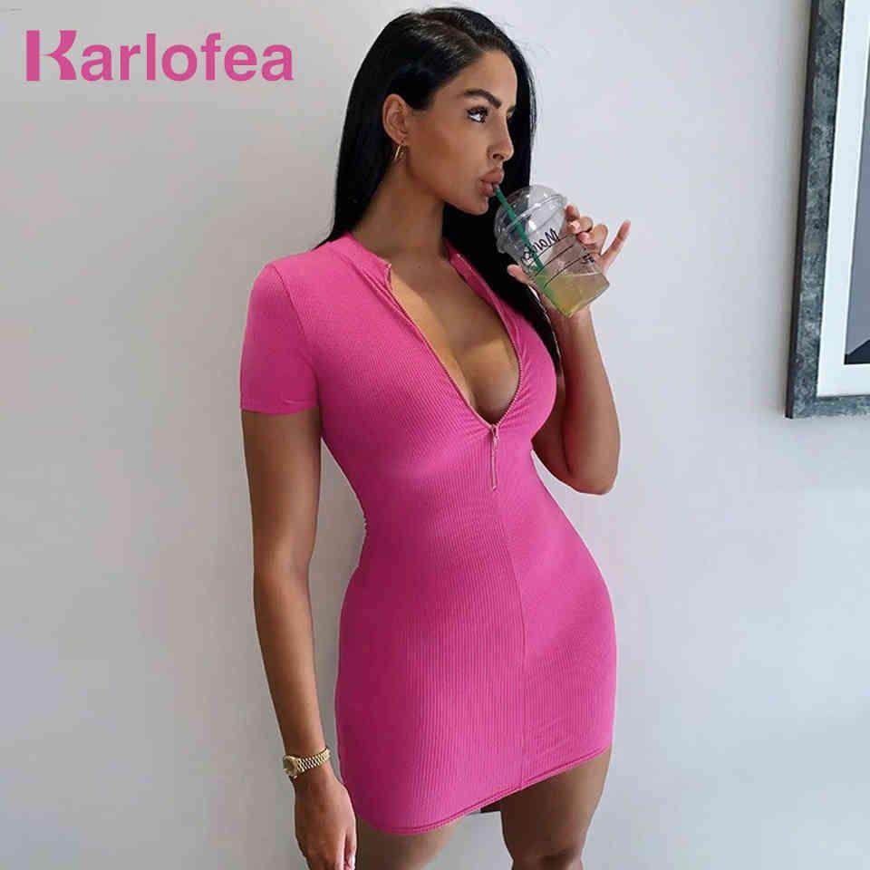 Lady Girls Elegante Mode Alltag Tragen Chic Feste Rippen Kurzarm Kleid Weibliche Lässige Bodycon Reißverschluss Vestidos 210512