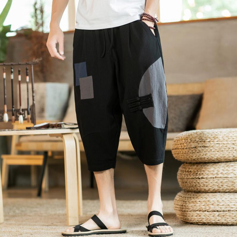 Yaz Erkekler Harem Pantolon Çin Tarzı Erkek Rahat Patchwork Pamuk Keten Gevşek Sweatpants Erkek 2021 Büyük Boy M-5XL Erkekler