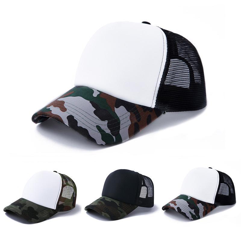 Sublimação em branco camuflagem chapéu de algodão transferência de calor pico tampa de sol ao ar livre desenhador de protetor solar chapéus DIY festa decoração