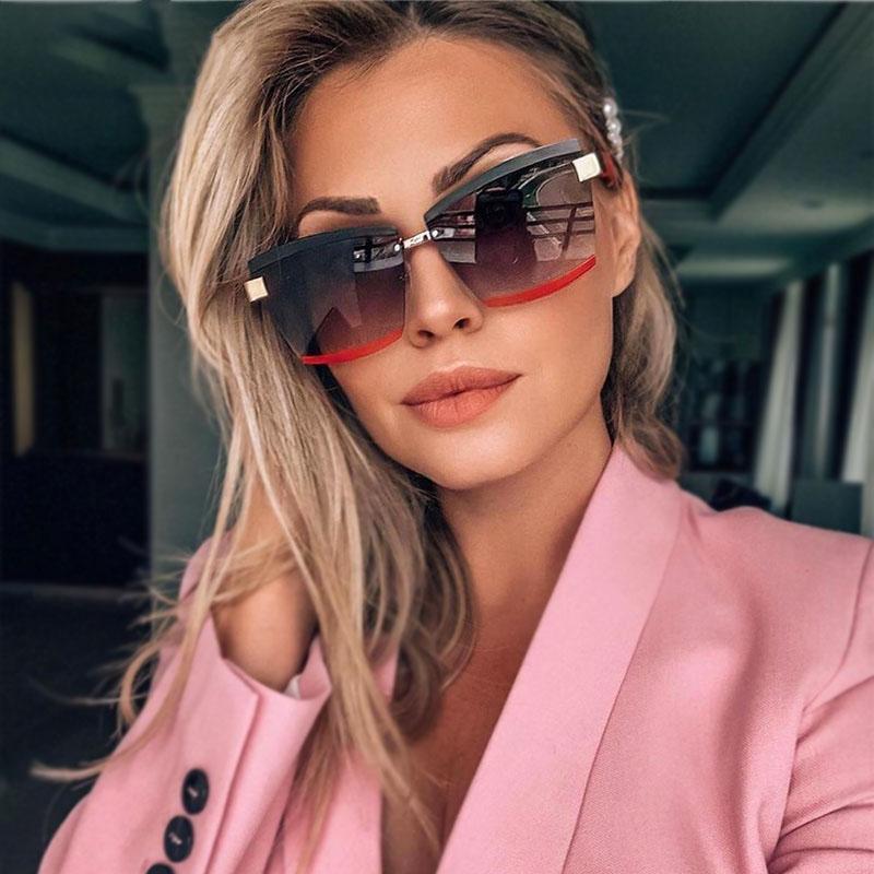Rimless Luxury Sunglasses Square Men Women Fashion Shades UV400 Vintage Glasses