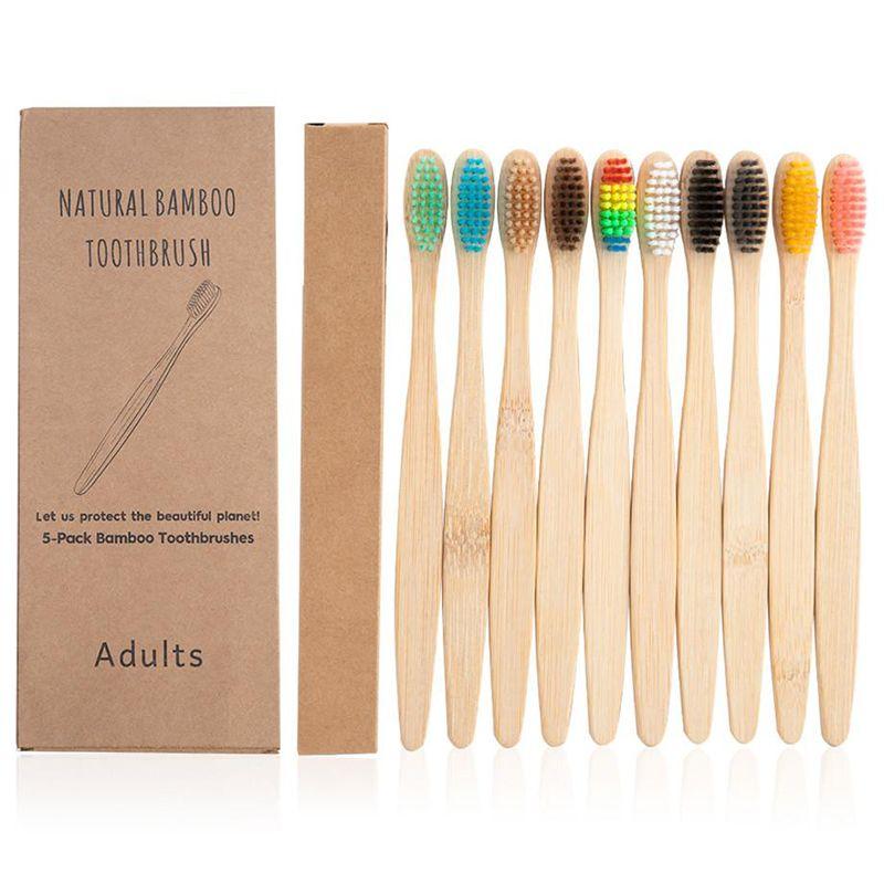 10Pcs Bamboo Toothbrush Eco-Friendly Product Vegan Tooth Brush Rainbow Black Wooden Soft Fibre Adults Travel Set