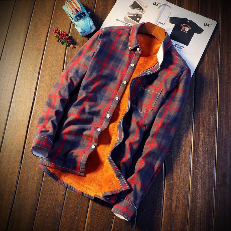 Franela camisas a cuadros hombres invierno caliente grueso vellón manga larga camisa de algodón masculino ropa casual camisa masculina grande tamaño 5xl