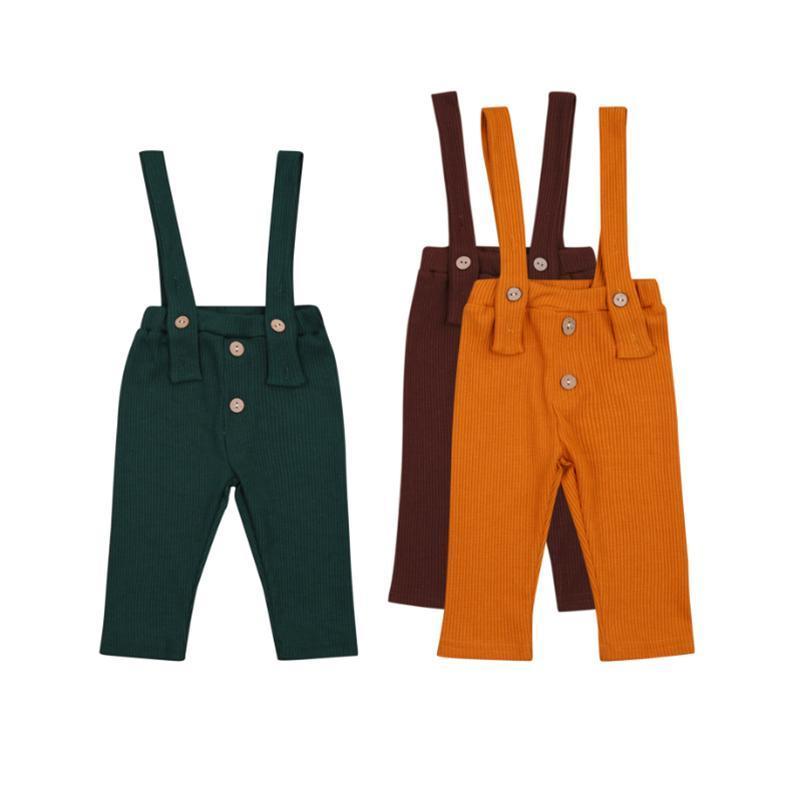 Verano nacido infantil bebé niños niñas ropa correa botón mamelucos sólido mono pantalones largos trajes 0-24m mansiones