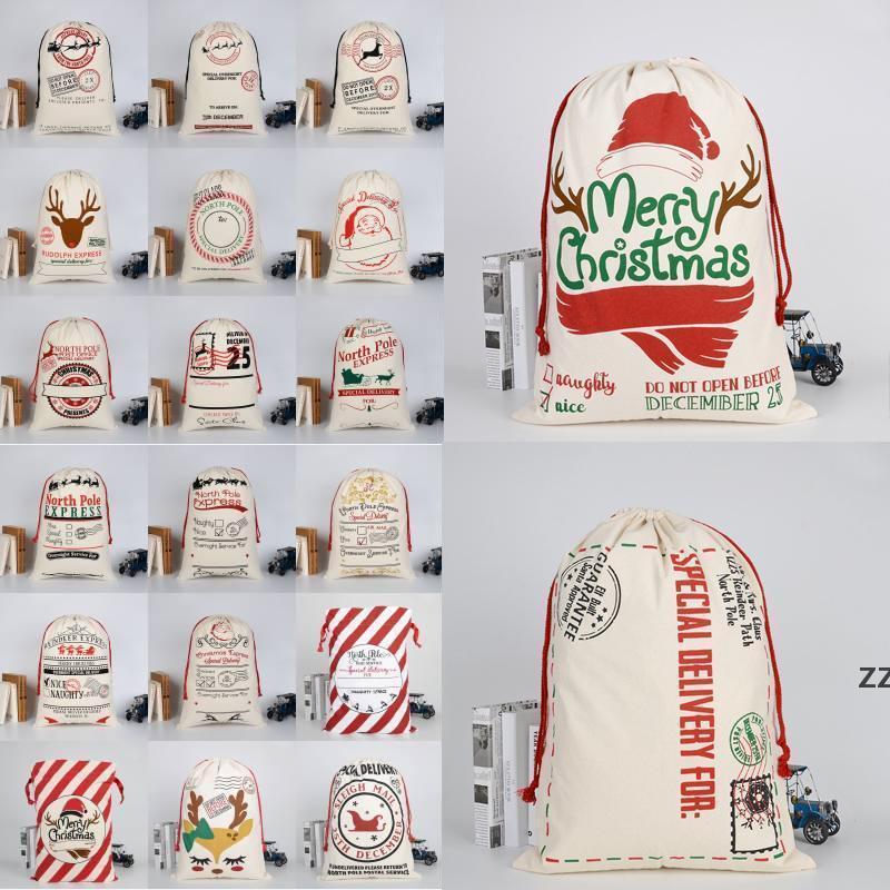 Decoraciones de Navidad Bolsos Regalos de Navidad monogrambles Saco de cordón Santa con lona Gran Claus Seaway HWF10550