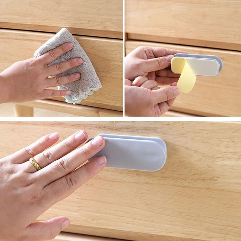 Handles & Pulls 2pcs Drawer Wardrobe No Trace Modern Kitchen Door Handle Home Paste On Self Adhesive Convenience Window Pull Solid ABS Oval