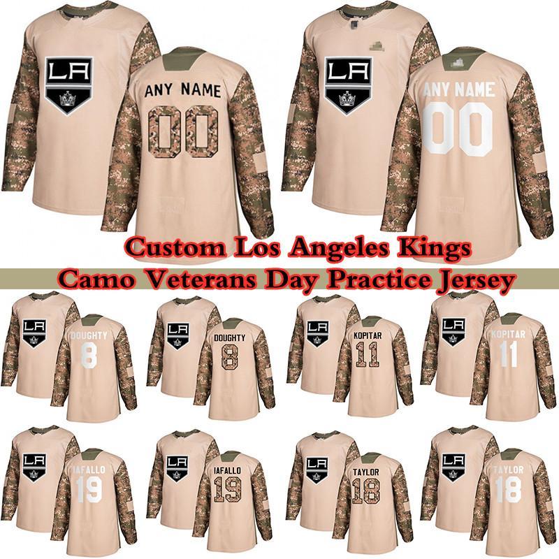 Custom Camo Veterans Dia Prática Los Angeles Reis Jerseys Hóquei 99 Wayne Gretzky 33 Tobias Bjornfot 11 Anze Kopitar 8 Drew Doughty Qualquer Número e Nome