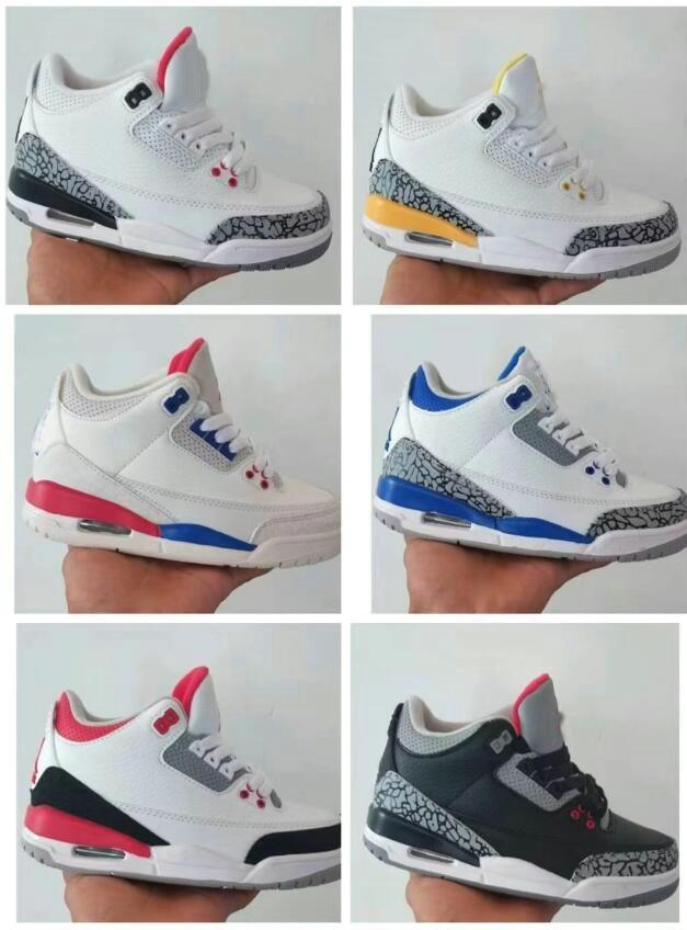 Top Qualité Jumpman 3s Chaussures de basketball 3 Midnight Navy Racer Bleu Fragment Court Violet Cool Cool Gris Unc Tinker Enfants Enfants Filles Sports Baskets Sneakers