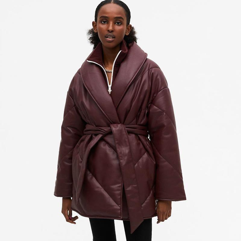 agong 겨울 단단한 느슨한 파카 여성 패션 지퍼 PU 가죽 코트 우아한 캐주얼 넥타이 벨트 코튼 재킷 여성 숙녀 여성