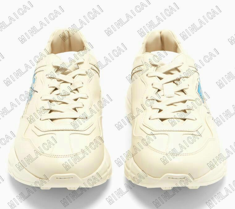 Rhyton Lederschuh Womens Luxurys Designer Sneakers Runner Trainer Designer Mens Casual Schuhe Erdbeere Rote Lippen Tiger Flash Duck Maus
