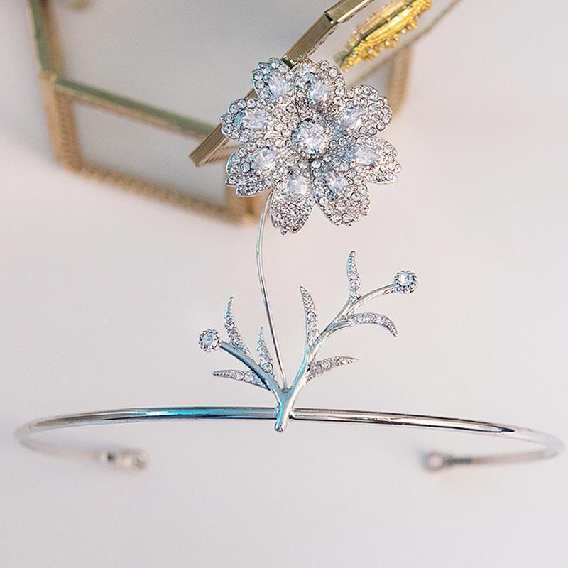 Estilo Floral Zircon Corona nupcial Tiara Rhinestone Dama de honor Decoración Classic Boda Decoración de Decoración Clips Barrettes