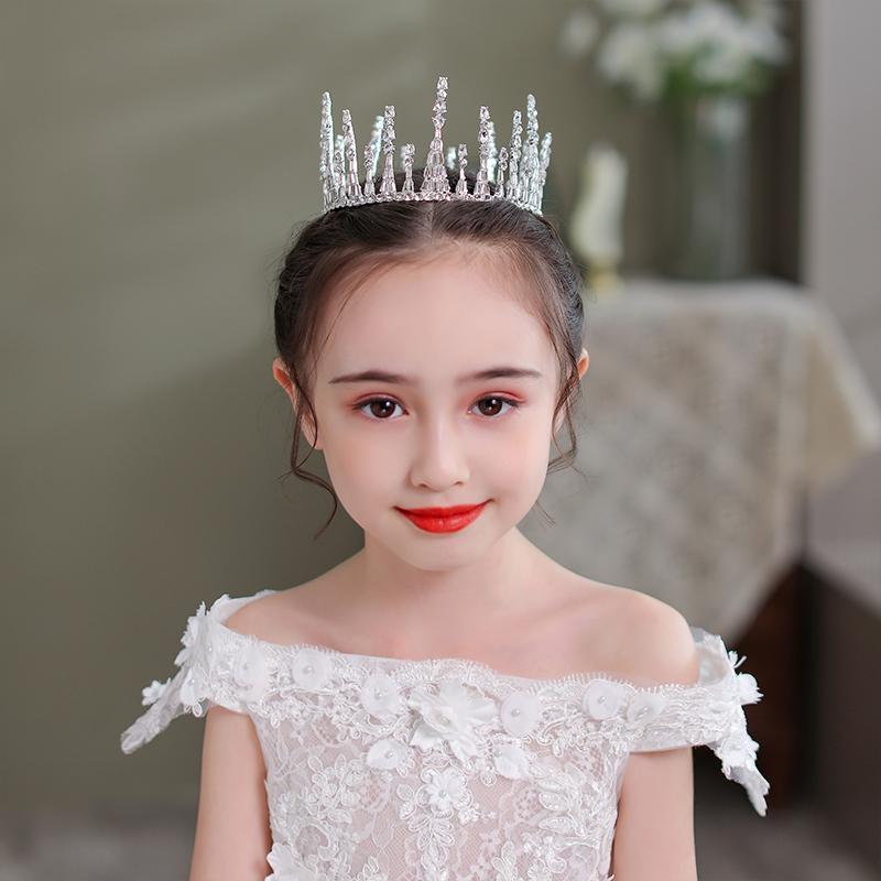 Haarklammern Barrettes Strass Runde Tiaras und Kronen POGRY Girls Kid Silber Farbe Zubehör Prinzessin Königin Schmuck Party Diadems