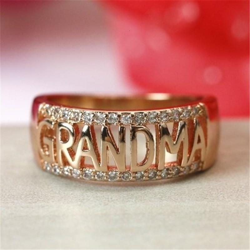 다이아몬드 지르콘이있는 MA 어머니 반지 18K 로즈 골드 어머니의 날 선물