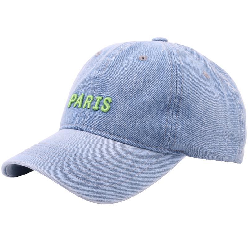 Men Women Embroidery Baseball Cap Flower Snapback Cotton Hats Adjustable Denim Jeans Hat