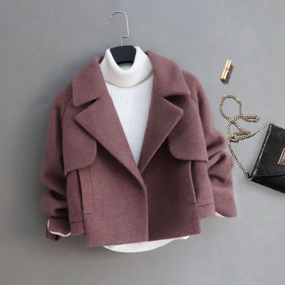 Yün sonbahar ve kış Kore ince minyon kısa kızın ceket
